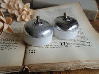 フランス クロムメッキカバーと陶器のアンティークスイッチ(1)