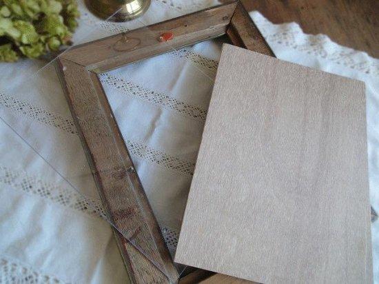 フランス 木製アンティークフレームと1899年の古い書類のセット