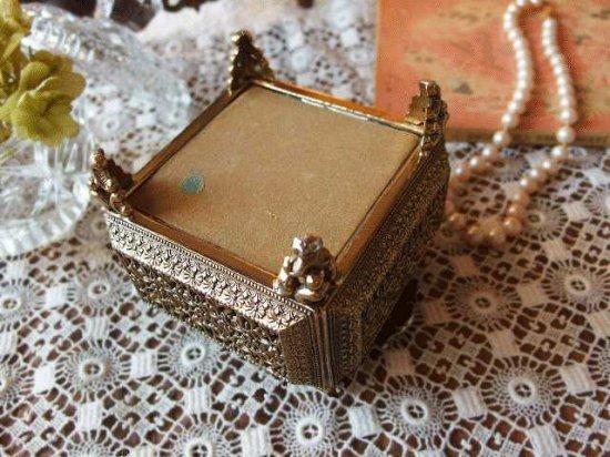 アンティーク 真鍮とガラスのジュエリーボックス