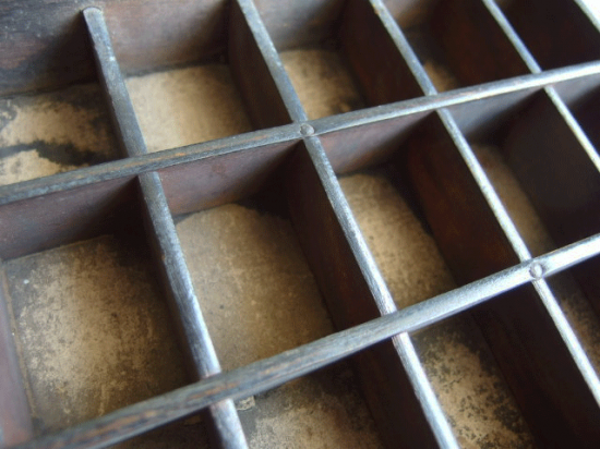 アンティーク プリンタートレイとプリンターブロックのセット(2)