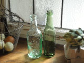 ガラス製 アンティークボトル2個セット