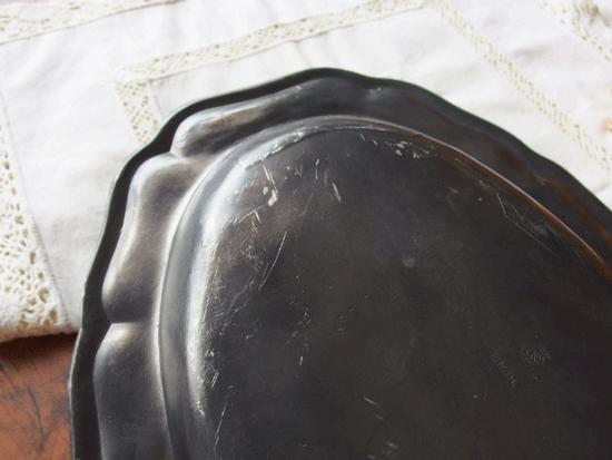 フランスアンティーク ピューター製 花リムのオーバル皿