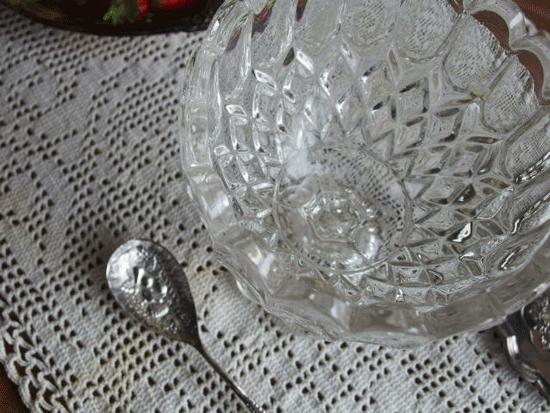 イギリスアンティーク ガラスコンポートとジャムスプーンのセット
