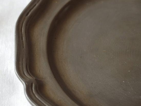 フランスアンティーク ピューター製 花リムのお皿