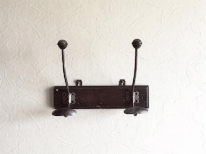 フランスアンティーク 木製コートフック2連