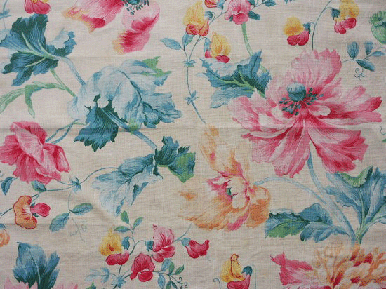 フランス アンティーク布(ベージュの花柄)