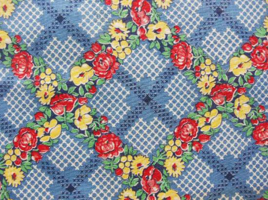 フランス アンティーク布(ブルーの花ガーランド)