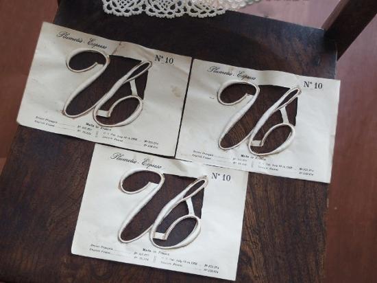 アンティーク 刺繍イニシャル 3枚セット(オリジナル箱付き)