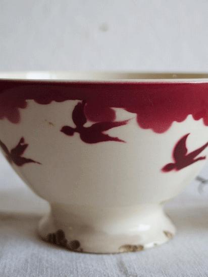 バドンヴィレー つばめ柄のカフェオレボウル