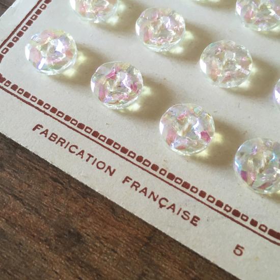 フランスアンティーク オーロラガラスのボタンシート