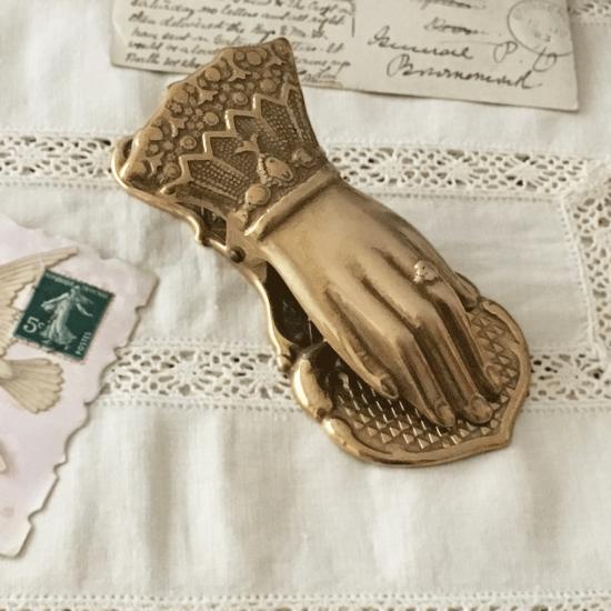 フランス 真鍮製アンティーククリップ(貴婦人の手)