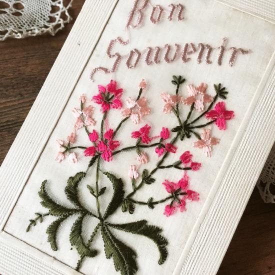 フランスアンティーク 刺繍カード(ピンク色のなでしこ)