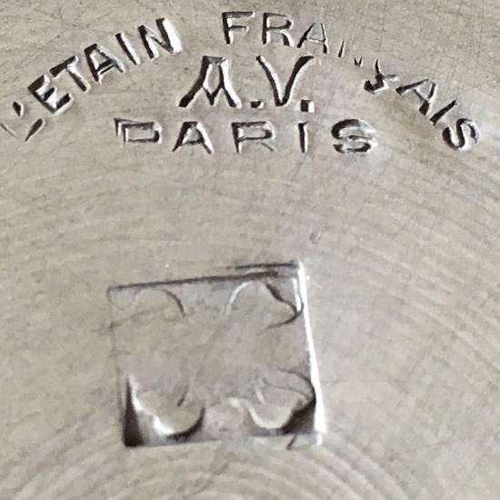 フランスアンティーク ピューター製の小物入れ