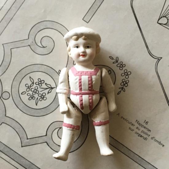 アンティーク ビスクドール ミニョネット(ピンクのレース服)