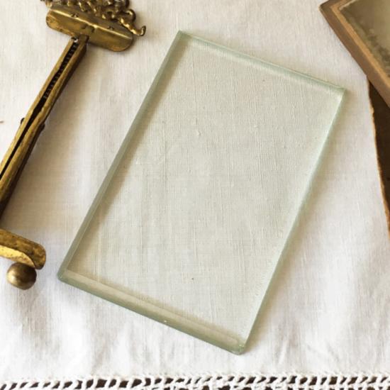 アンティーク ガラスのフォトフレーム リボン オルモル装飾