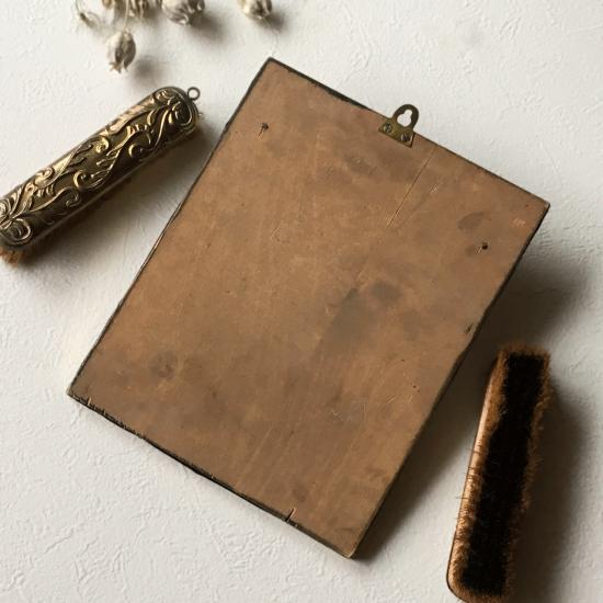 イギリスアンティーク 壁掛け 鏡と洋服ブラシのセット(真鍮製)