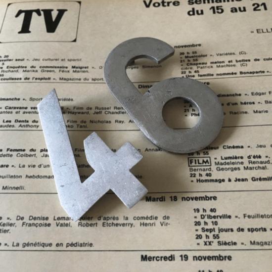 フランスヴィンテージ ナンバープレート7個セット(時計台の文字盤数字モチーフ)【2】