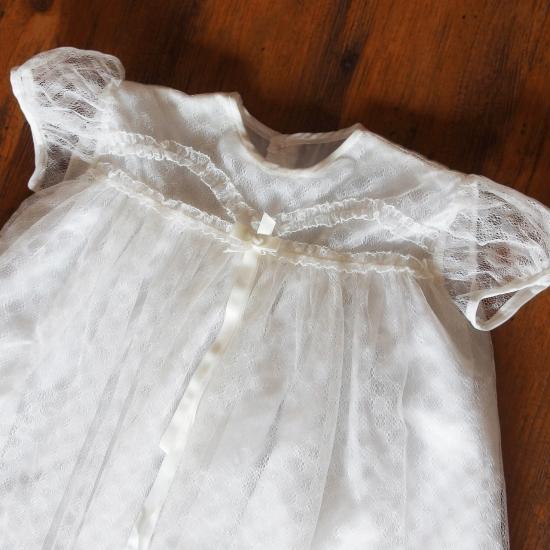 イギリスヴィンテージ チュールレースのベビードレス
