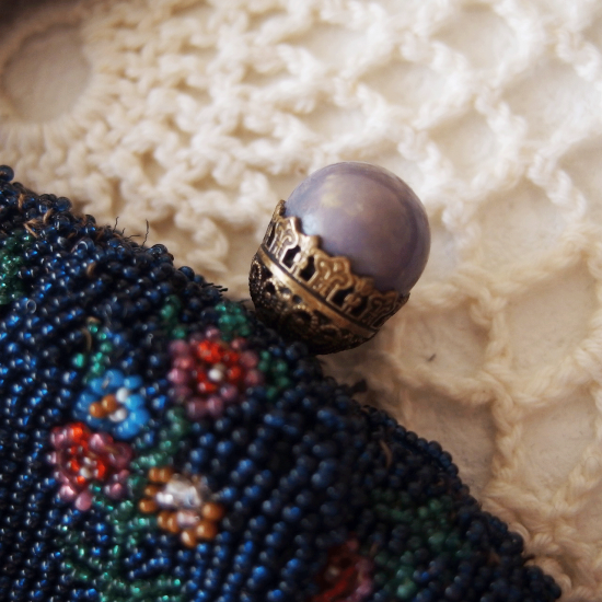 フランスアンティーク 小さいお花模様のビーズバッグ(ビーズ財布)