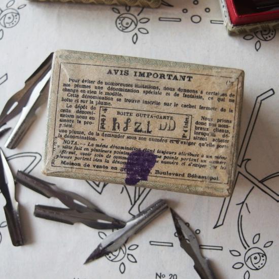 フランスアンティーク BLANZY POURE & CIE 紙箱に入ったペン先(ゴールド)