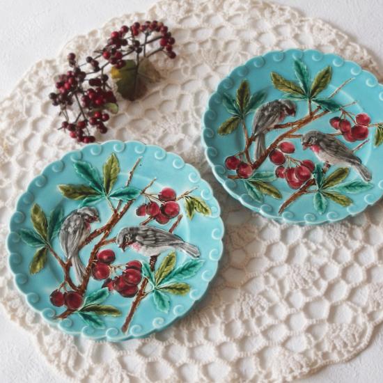 フランスアンティーク サルグミンヌ 鳥と赤い実のバルボティーヌ皿(1)