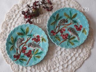 フランスアンティーク サルグミンヌ 鳥と赤い実のバルボティーヌ皿(2)