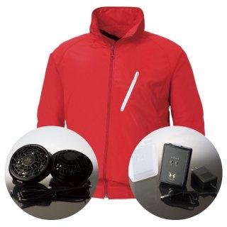 サンエス空調風神服KU90510レギュラーファンバッテリー・長袖スタッフブルゾン空調服セット