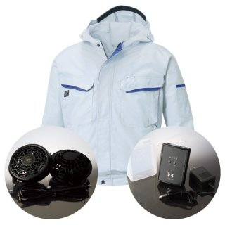 サンエス空調風神服KU90480レギュラーファンバッテリー・フード付長袖ブルゾン空調服セット