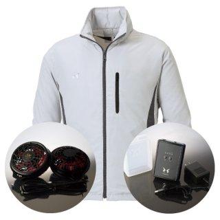 サンエス空調風神服KU90520Sハイパワーファンバッテリー・フード付スタッフジャンパー空調服セット