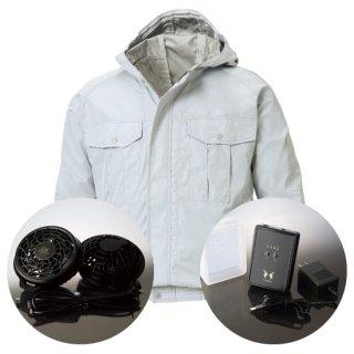 サンエス空調風神服KU90800レギュラーファンバッテリー・フード付長袖ブルゾン空調服セット