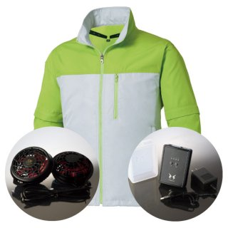 サンエス空調風神服KU91630ハイパワーファンバッテリー・袖取り外し長袖ブルゾン空調服セット