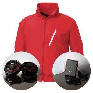 サンエス空調風神服KU90510ハイパワーファンバッテリー・長袖スタッフブルゾン空調服セット