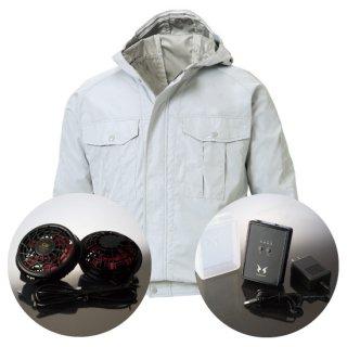 サンエス空調風神服KU90800ハイパワーファンバッテリー・フード付長袖ブルゾン空調服セット