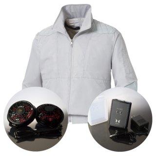 サンエス空調風神服KU92200ハイパワーファンバッテリー・チタン加工肩パッド付長袖ブルゾン空調服セット
