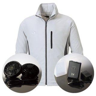 サンエス空調風神服KU90520Sレギュラーファンバッテリー・フード付スタッフジャンパー空調服セット