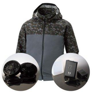 サンエス空調風神服KU92310レギュラーファンバッテリー・フード取り外し長袖ブルゾン空調服セット