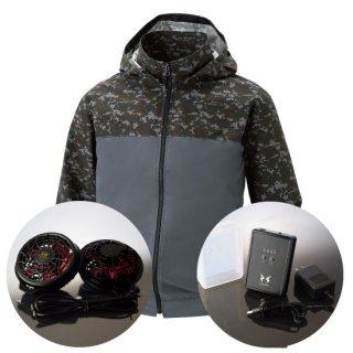 サンエス空調風神服KU92310ハイパワーファンバッテリー・フード取り外し長袖ブルゾン空調服セット