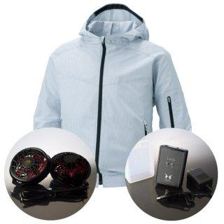 サンエス空調風神服KU90310ハイパワーファンバッテリー・フード付長袖ブルゾン空調服セット