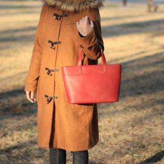 軽くて柔らかい牛革シンプルランチサイズトートバッグ 小