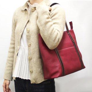 【azzuni(アッズーニ)】ポケットいっぱい縦型レディストートバッグ