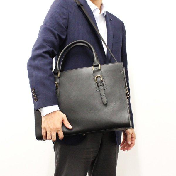 【azzuni(アッズーニ)】牛革ヌメ×ヌメシボ ビジネスバッグ