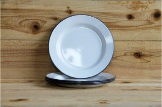 FALCON | 24CM PLATES White with Pigeon Grey rim Set of four<br/>ファルコン プレートセット グレイ 4枚セット