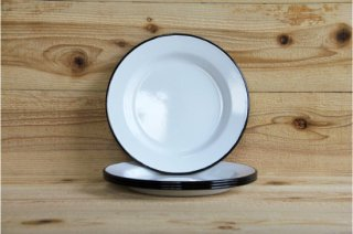 FALCON | 24CM PLATES White with Coal Black rim Set of four<br/>ファルコン プレートセット ブラック 4枚セット