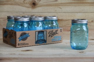 Ball Mason jar | Regular Mouth 16oz Blue<br/>ボール メイソンジャー レギュラーマウス 480ml ブルー(100周年限定カラー)