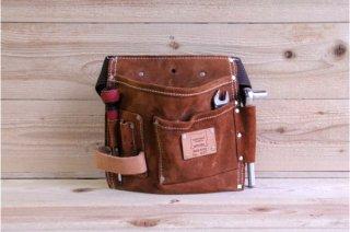 Heritage Leather | 495 Pocket Suede Nail and Tool Bag<br/>ヘリテージレザー 5ポケットスウェードツールバック(腰袋) ベルト付