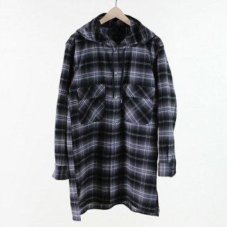 【50%OFF】BLACK & BLUE HOODED LONG SHIRT