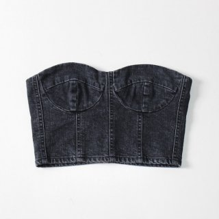【FINAL PRICE】【ブランド取り扱い終了のため60%OFF】holiday   DENIM BUSTIER WASH BLACK