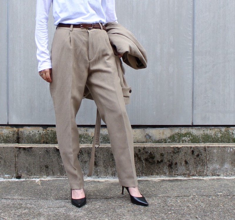 PHLANNEL Wool Linen One Tuck Trousers