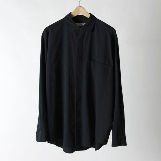 【2018 A/W】【unfil / アンフィル】high twist cotton gabardine round collar flyfront shirt CARBON
