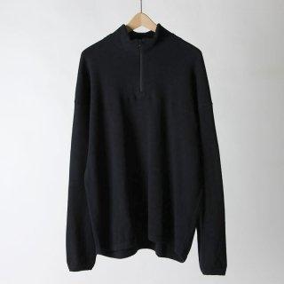 【2018 A/W】【unfil / アンフィル】cotton-thermal mesh half zip pullover BLACK